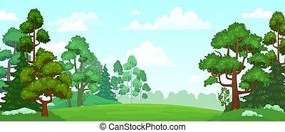 prosperar, ilustración, bosque, campo verde, plano de fondo...