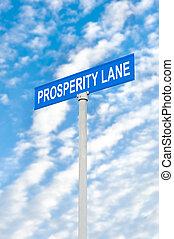 prosperidad, calle, cielo, contra, señal