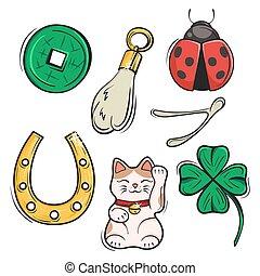 prosperidad, conjunto, talismans., illustration., encantos, ...