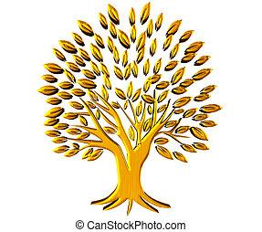 prosperidad, oro, símbolo, árbol, logotipo, 3d
