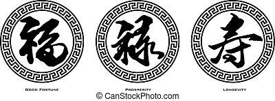 prosperidade, fortuna boa, texto chinês, longevidade, ...