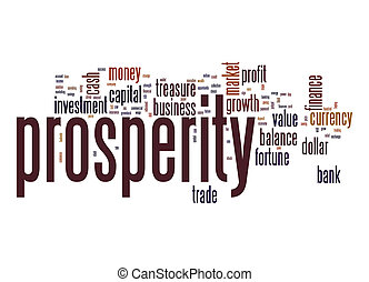 prosperidade, palavra, nuvem