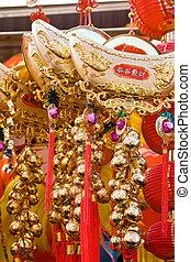 Prosperity charm - Golden Buddhistic prosperity charm with...