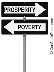 Prosperity or Poverty - Conceptual one way street signs on...