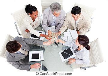 Prosperous business team celebrating a success