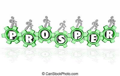 prosperować, słowo, mechanizmy, zarobki pieniądze, towarzystwo, handlowy, pracujący, do, suc