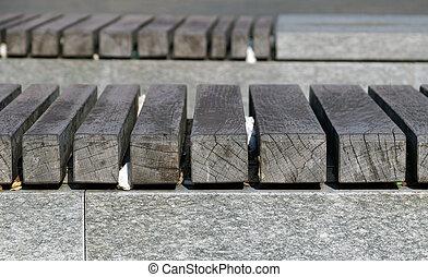 prospettiva, legno, pavimento asse, con, sopra, concreto, architettonico, nudo, ., soffitta, style.