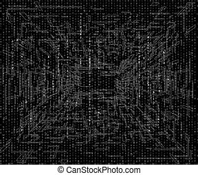 prospettiva, lettere, cyberpunk, astratto, 1980s, nero, ...