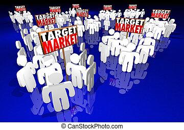 prospettive, bersaglio, persone, clienti, clienti, illustrazione, mercato, 3d