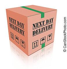 prossimo giorno, consegna, carboard, scatola, pacchetto