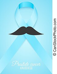 Prostate cancer ribbon awareness. Fighting cancer. Light blue ribbon with a man's mustache. The month of November. Vector