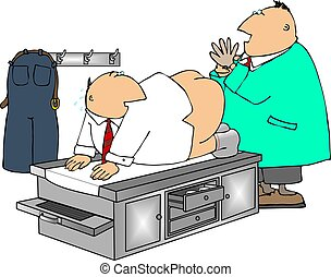 Prostate exam - This illustration depicts a man getting a...