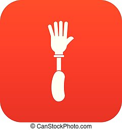 Prosthesis hand icon digital red for any design isolated on...