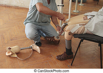 Prosthesis - Hands machinery governing prosthetic leg on man