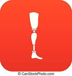 Prosthesis leg icon digital red for any design isolated on...