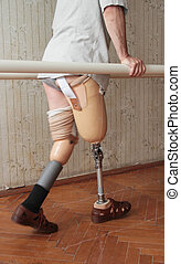 Prosthesis - Male prosthesis wearer training in a special...
