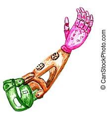 Prosthetic arm sketch - Mechanical prosthetic arm hand drawn...
