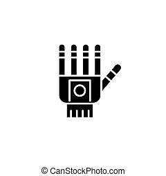 Prosthetic hand black icon concept. Prosthetic hand flat vector symbol, sign, illustration.