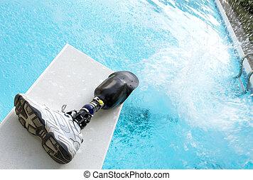 Prosthetic Leg - Prosthetic leg left on diving board.