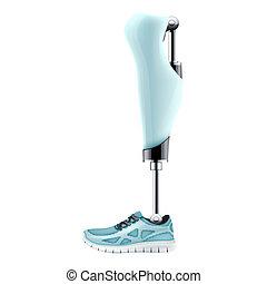 prosthetic, moderno, original, mecanismo, pierna