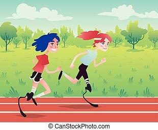 Prosthetic runners in the park.