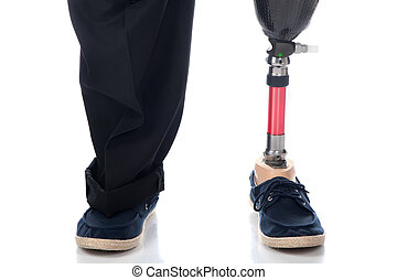 Prosthetic support - An adult man with a below knee...