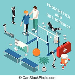 Prosthetics and Orthopedics Isometric Composition -...