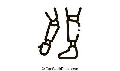 Prosthetics Of Arms And Leg Orthopedic animated black icon on white background