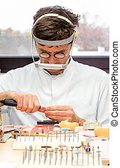Prosthetist Busy Making Artificial Facial Dental