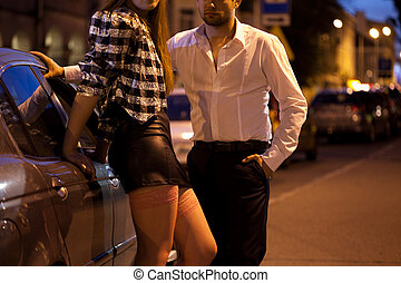 Prostitute and her potential client