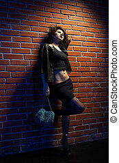 prostitute - portrait of girl dressed like hooker posing...