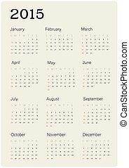 prosty, 2015, kalendarz, wektor, projektować