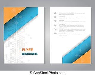 prosty, abstrakcyjny, nowoczesny, pomarańcza, aspekt, template., design., układ, kropkowany, biały, błękitny, afisz, color., lotnik, broszura, stosunek, size., szary, magazyn, wektor, cover., a4