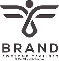 prosty, abstrakcyjny, wektor, logo, skrzydełka, najlepszy