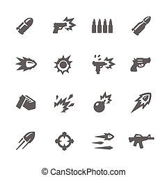 prosty, broń, ikony