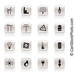 prosty, elektryczność, ikony