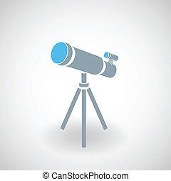 prosty, ikona, teleskop, 3d