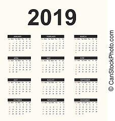 prosty, kalendarz, 2019