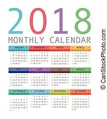 prosty, kalendarz rok, style., 2018