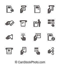 prosty, kiosk, terminal, ikony
