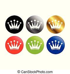 prosty, korona, okrągły, ikony