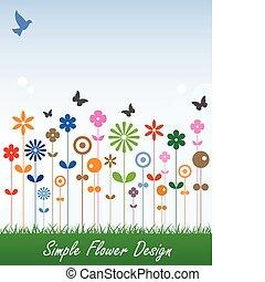 prosty, kwiat, karta, wiadomość, etykieta