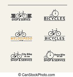 prosty, logos, bicycles, komplet, wektor