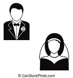 prosty, małżeństwo, ikona