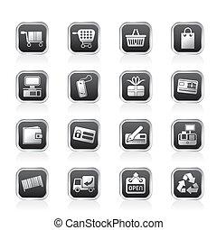 prosty, magazyn online, ikony