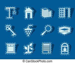 prosty, nieruchomość, ikony