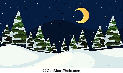prosty, noc, zima scena