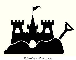 prosty, piasek zamek, ikona