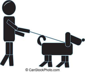 prosty, pieszy, jego, pies, figura