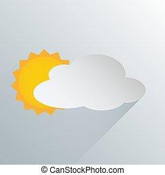 prosty, pogoda, częściowo pochmurny, ikona